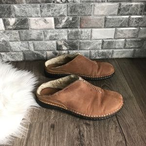 UGG tan sheepskin slip on clog mules shearling 9